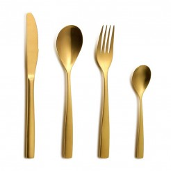 Set Couverts BCN Gold Inox - 24 Pièces