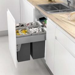 Bacs de Recyclage des Déchets 2 x 24 + 2 x 8 L avec un Système de Guides