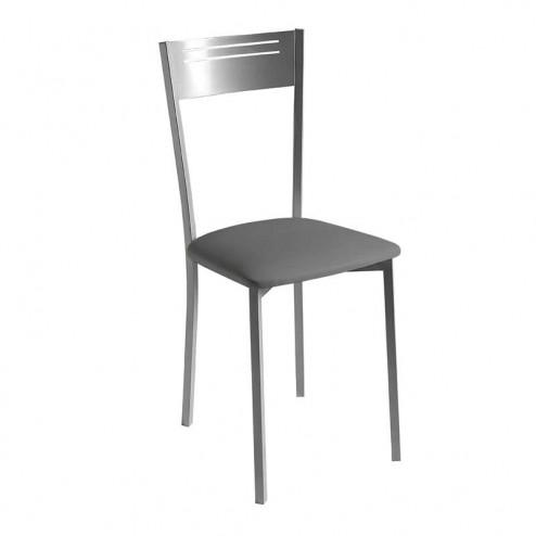 Chaise de Cuisine Rembourrés en Similicuir et Châssis, Chrome Mat 7951