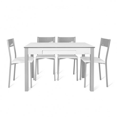 Table de Cuisine Secret + 4 Chaises Puce