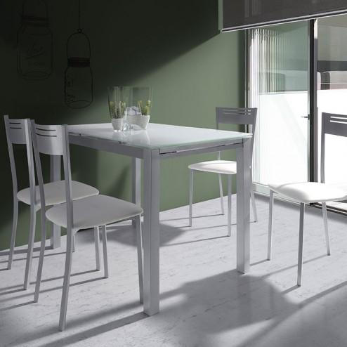 Ensemble De Table De Cuisine En Verre Extensible + 4 Chaises