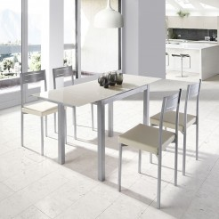 Set de Cuisine Table Extensible + 4 Chaises