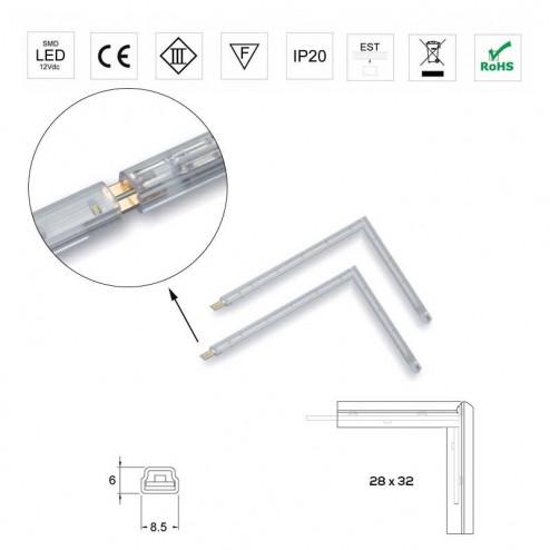 Angle 28x32mm Lumières Led 12V 0.2 W 5500K Bande Rigide