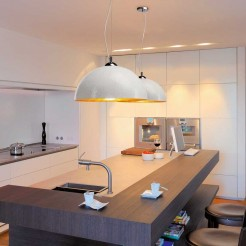 Lampe de Plafond de la Coupe du E27 40W Look Chrome et Blanc