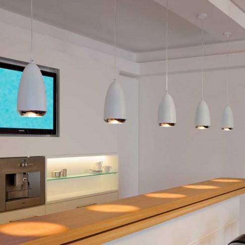 Lampe de Plafond Décoratif Halogène GU10 75W Chrome et Blanc Klauss