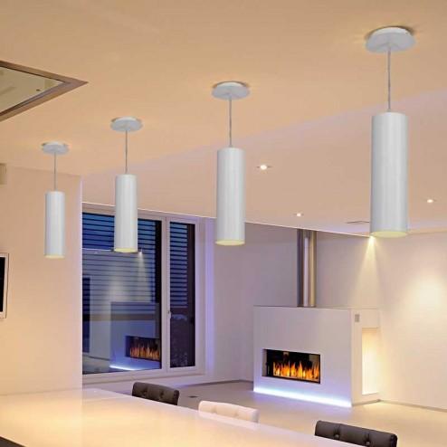 Lampe Sourire Tubulaire en Aluminium de Plafond Blanc E27 60W