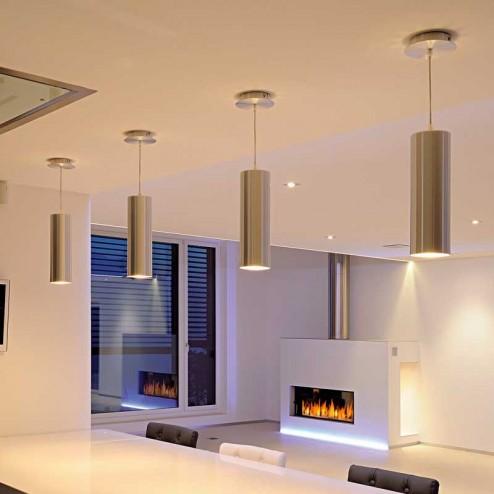 Lampe Sourire Tubulaire en Aluminium Brossé pour le Plafond E27 60W