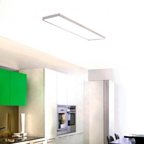 Lampe de Plafond de l'Intégrité Fluorescent en Aluminium Satiné et Blanc