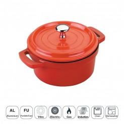 Pan Rouge Mini avec Couvercle en Fonte