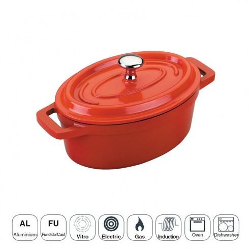 Pan Rouge Mini Ovale avec Couvercle en Fonte