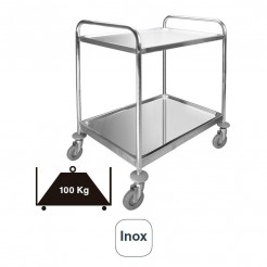 Service de voiture de 2 Plateaux Amovibles en acier Inoxydable à 100 kg