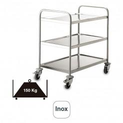 Chariot de Service 3 Plateaux en acier Inoxydable de 150 kg