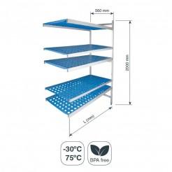Rayonnage modulaire Ouvert 5 Tablettes de Fond 560 mm Hauteur 2000 mm