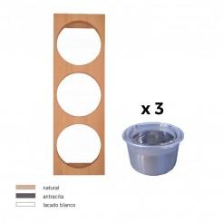 Portatarros + 3 Pots En Acier Inoxydable Cubertero Cube