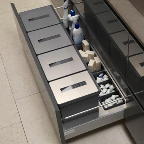 Cube Corbeille de Recyclage de l'Acier Inoxydable et PVC
