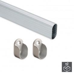Barre de Penderie Ovale en Aluminium 30x15 mm (2 pcs)