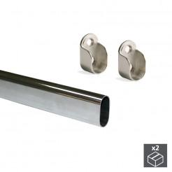 Barre de Penderie Ovale en Acier, 30x15 mm (2 pcs)