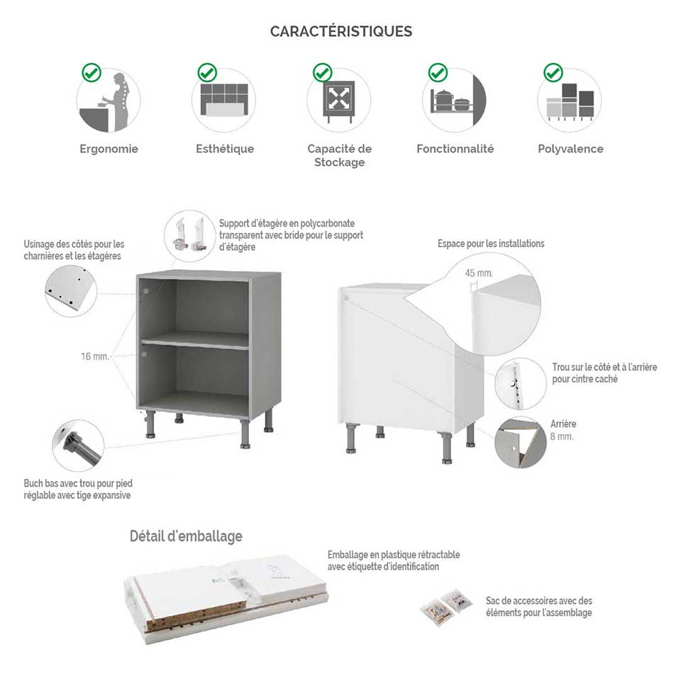 Meuble Cuisine Four Et Micro Onde meuble demi-colonne four et micro-ondes cuisine kit complet